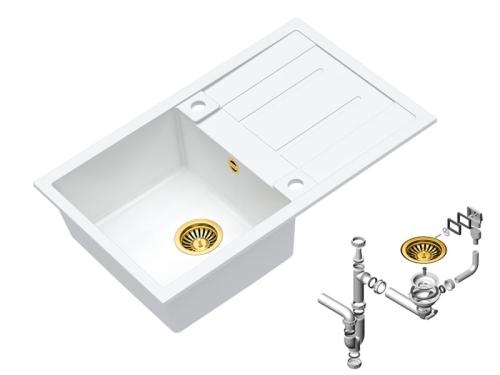 Morgan 111 Msanit Zlewozmywak Granitowy Biały Złoty Syfon